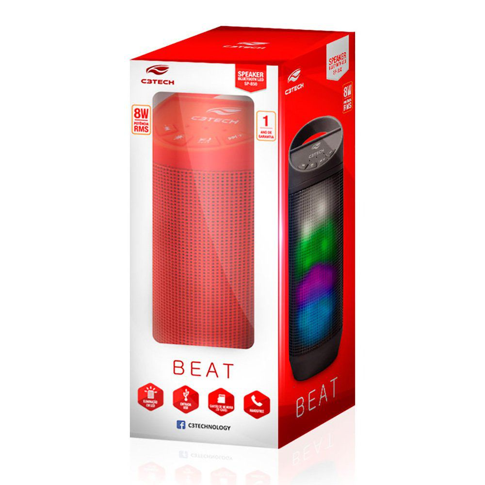 Caixa de Som Speaker Bluetooth Beat Vermelha 8W C3TECH