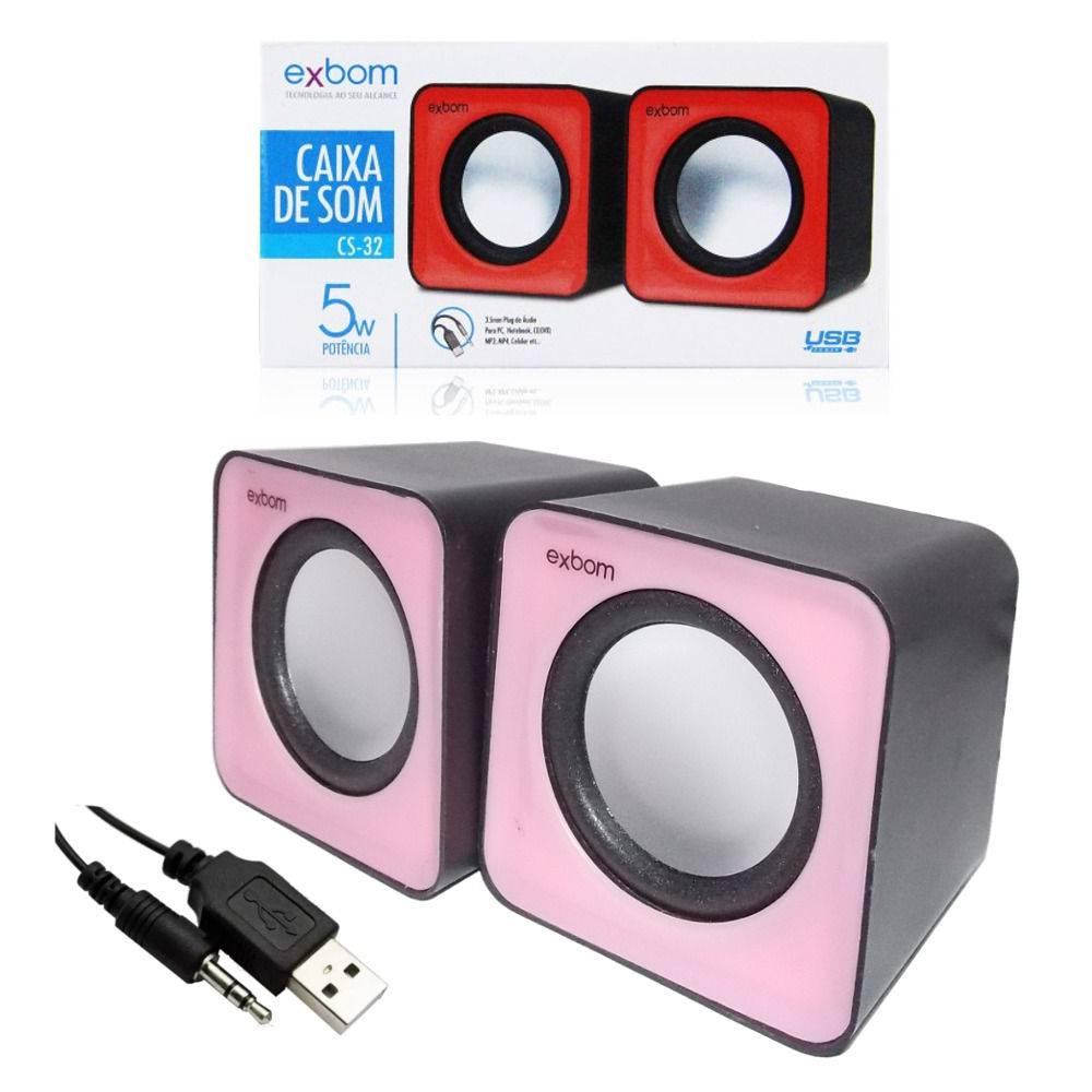 CAIXA DE SOM USB 2.0 EXBOM/5W MODELO CS-32 ROSA