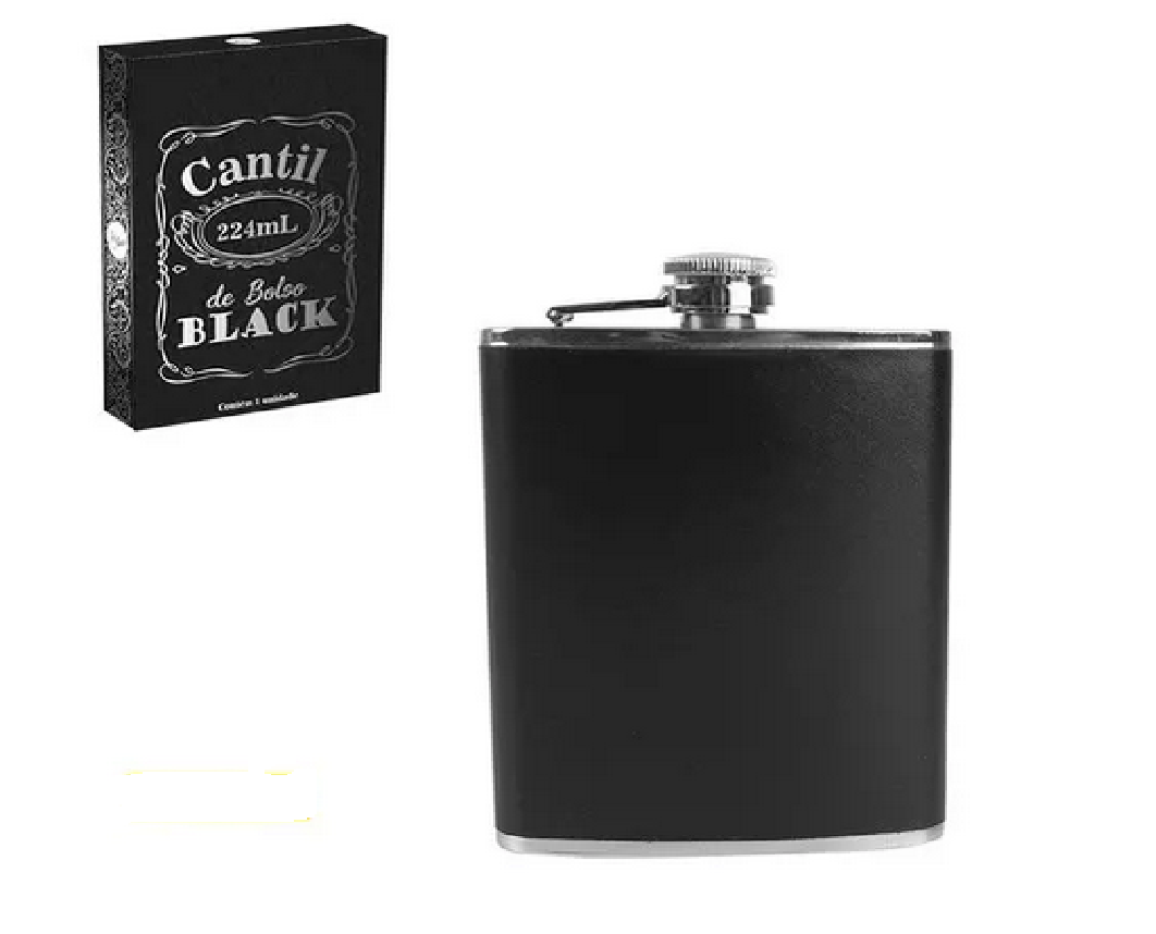 Cantil de Bolso Black Porta Bebida Vodka Cachaça 224ml Art House