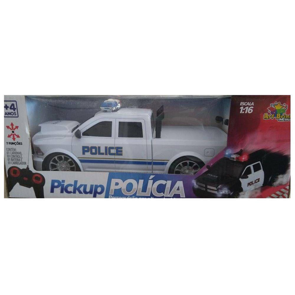 Carro de Controle Remoto Pickup Policia 7 Funçoes Brinquedo Art Brink