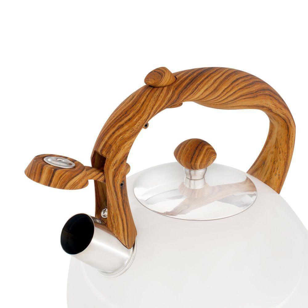 Chaleira Inox Moderna Com Apito Wood Bege 2,5 Litros Mor