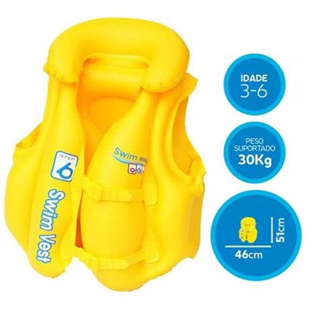 Colete Inflável Infantil Premium Amarelo Mor