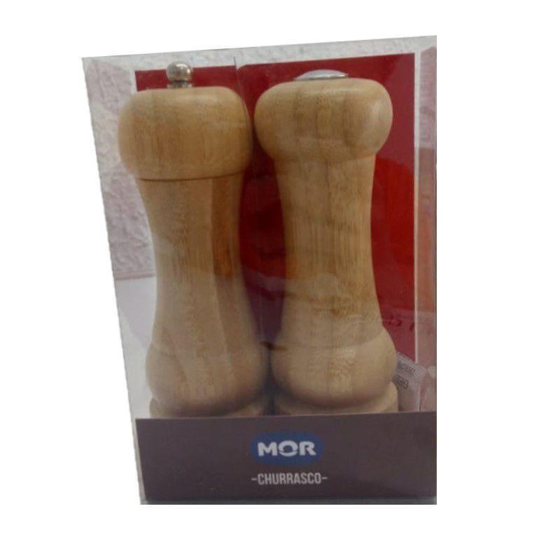 Conjunto Churrasco Moedor de Pimenta e Saleiro Bamboo Mor