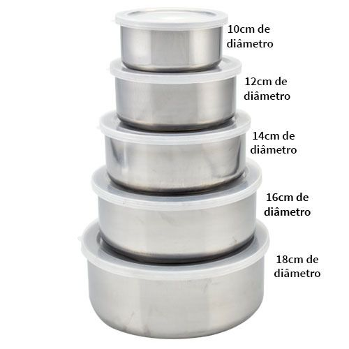 Conjunto De 5 Potes Inox Com Tampa Kit Utilidade domestica