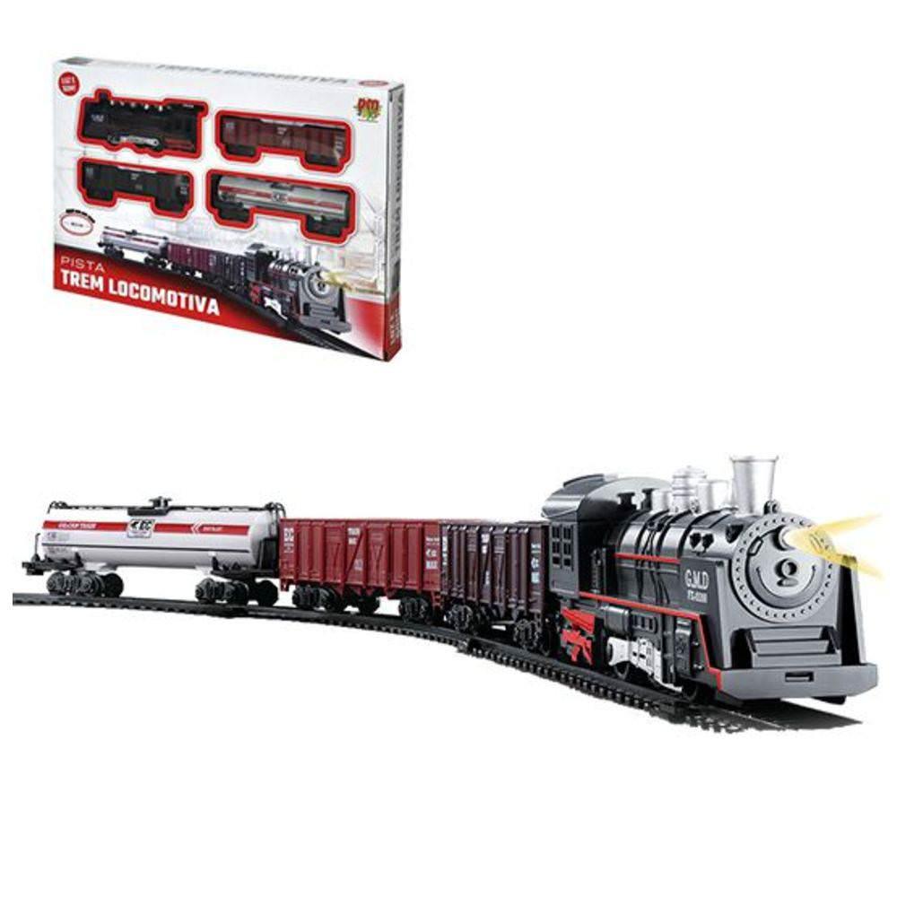 Ferrorama Pista Trem Locomotiva Luz e Som DM Toys