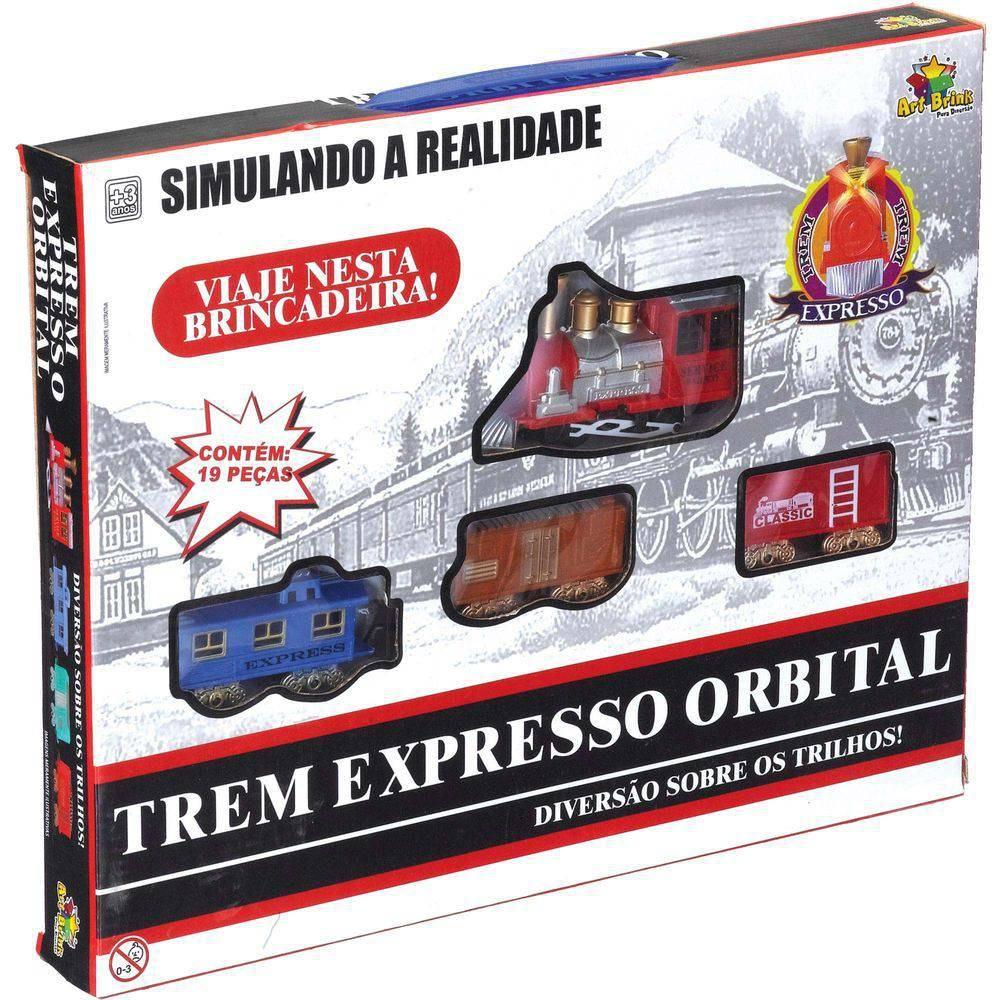 Ferrorama Trem Expresso Orbital com Trilhos Art Brink 19pçs