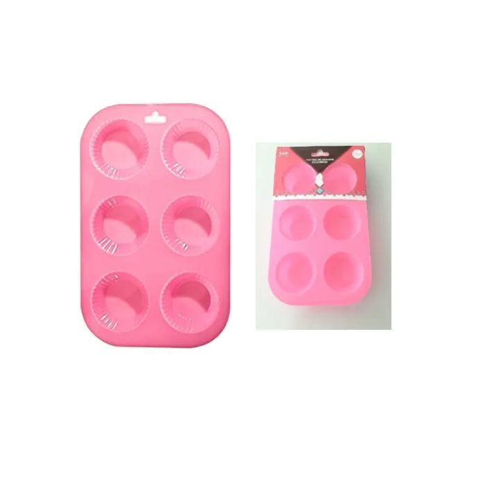 Forma de Silicone com 6 Cavidades Mini Bolo Cupcake Muffins Art House