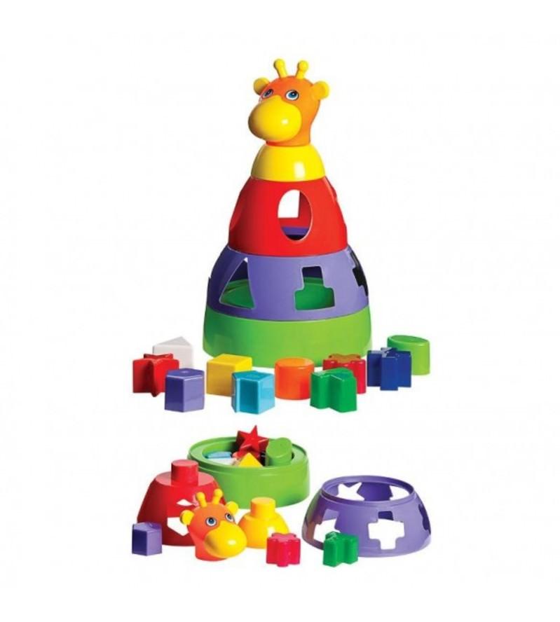 Girafa Brinquedo Didatico Para Bebes com Formas Geometricas Mercotoys