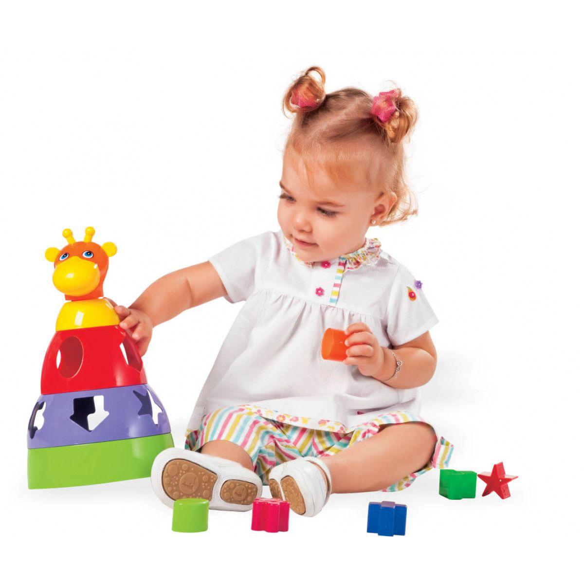 Girafa Brinquedo Didático Para Bebês com Formas Geométricas Mercotoys