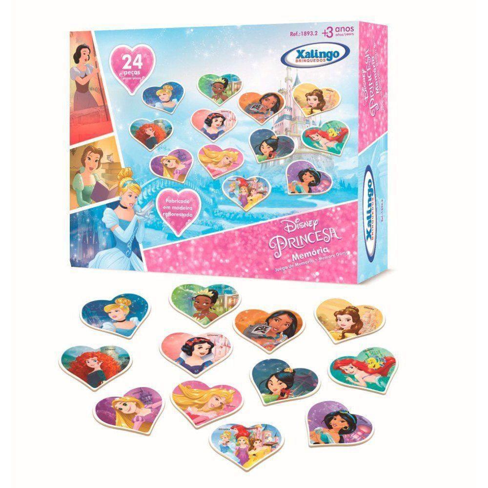 Jogo da Memória Princesas Disney 24 pçs Brinquedo Xalingo
