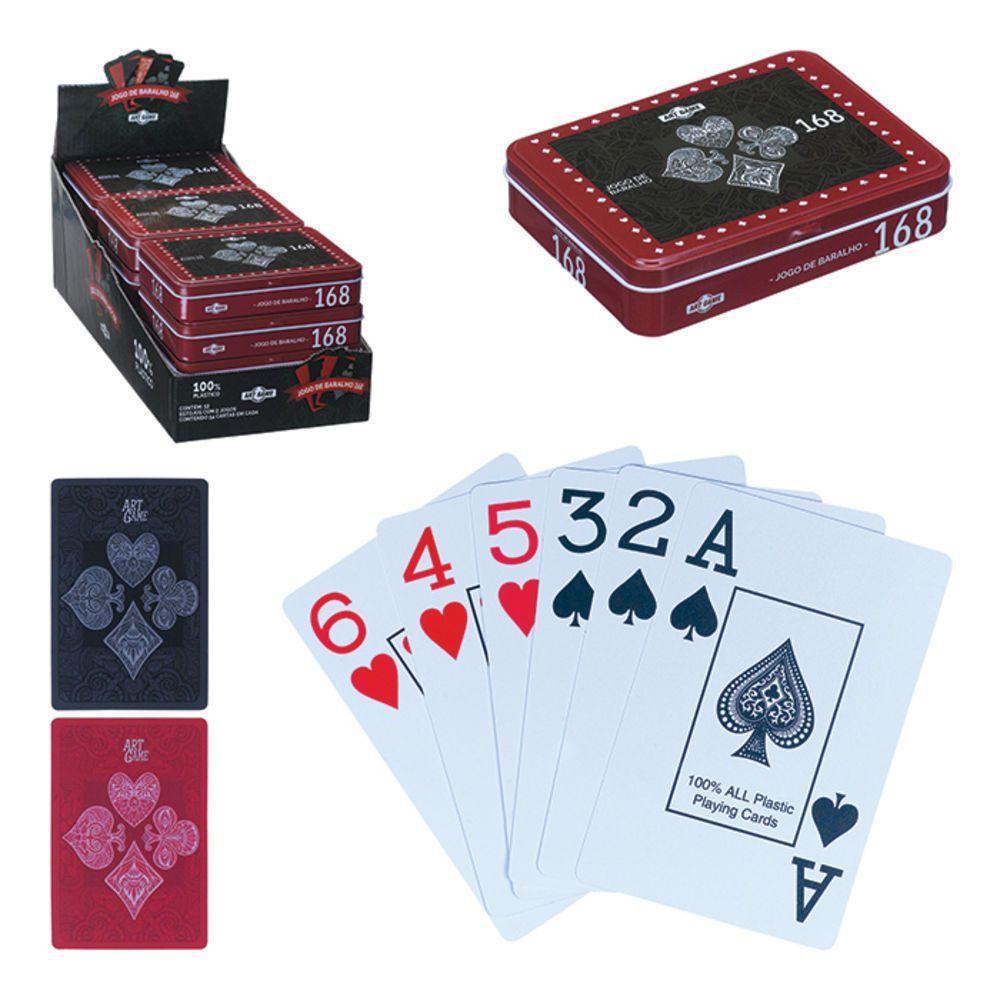 Jogo de Baralho 168 na Lata com 2 Jogos de 54 Cartas Luxo Art Game