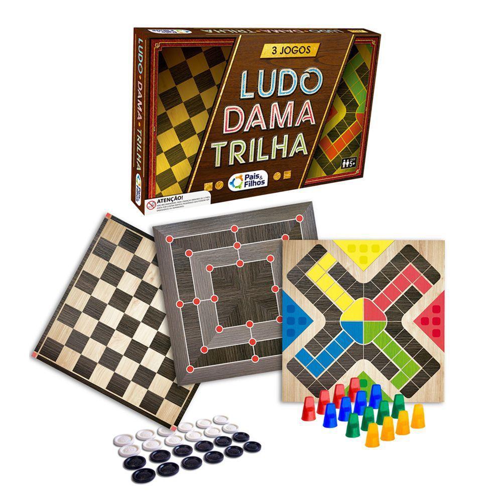 Jogo de Tabuleiro 3 Em 1 Ludo Dama e Trilha Brinquedo Pais e Filhos
