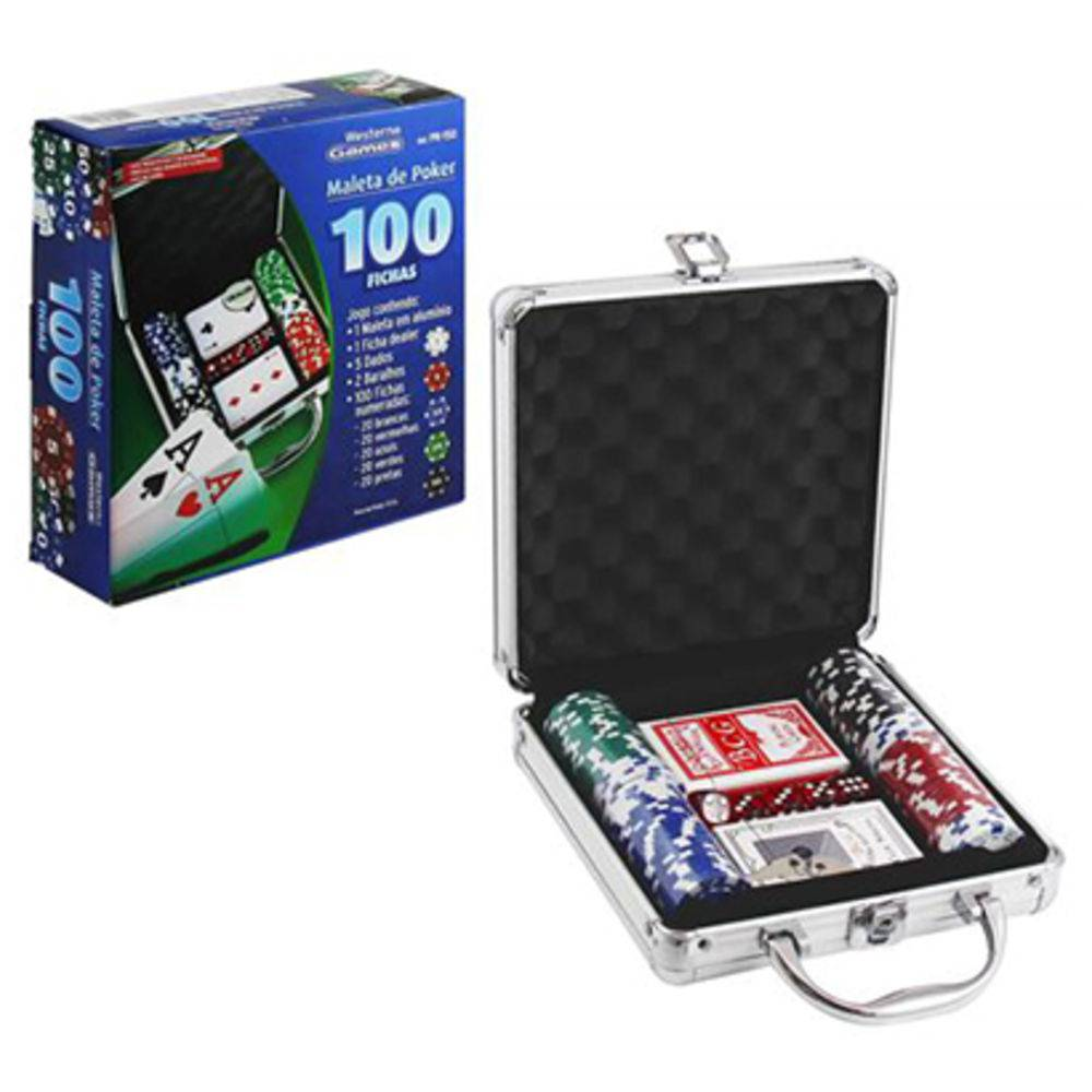 Jogo Maleta de Poker com 100 Fichas Western