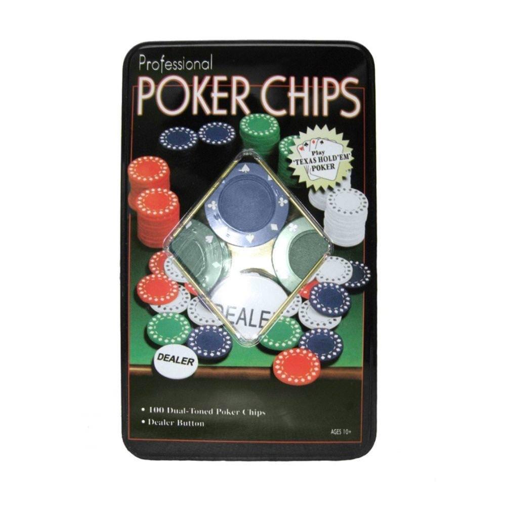 Jogo Poker Chips Profissional com 100 fichas