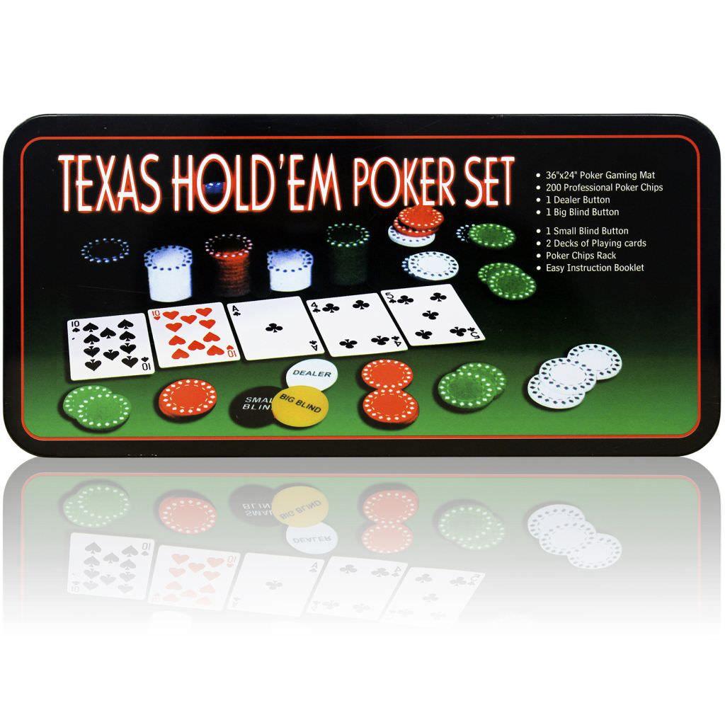 Jogo Poker Texas Hold'em Set Profissional com 200 fichas