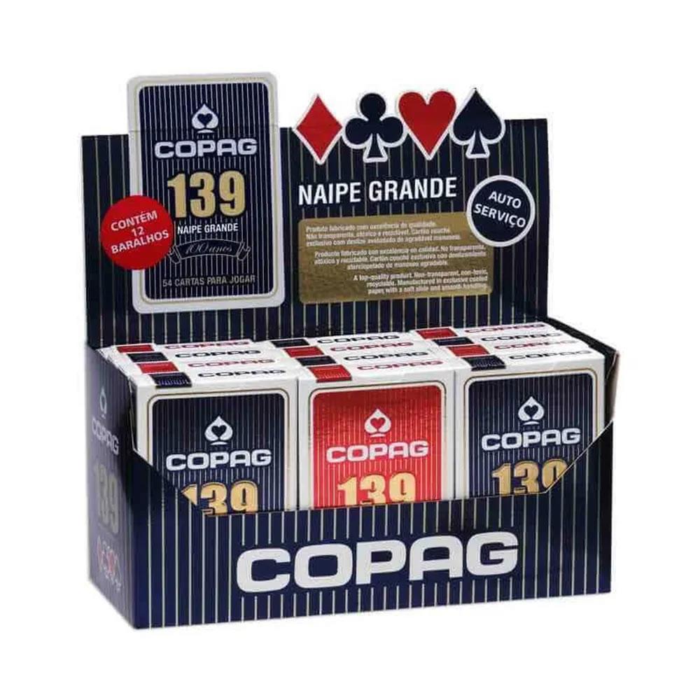 Kit com 2 Jogos de Cartas Baralho Vermelho e Azul 139 Naipe Grande Copag