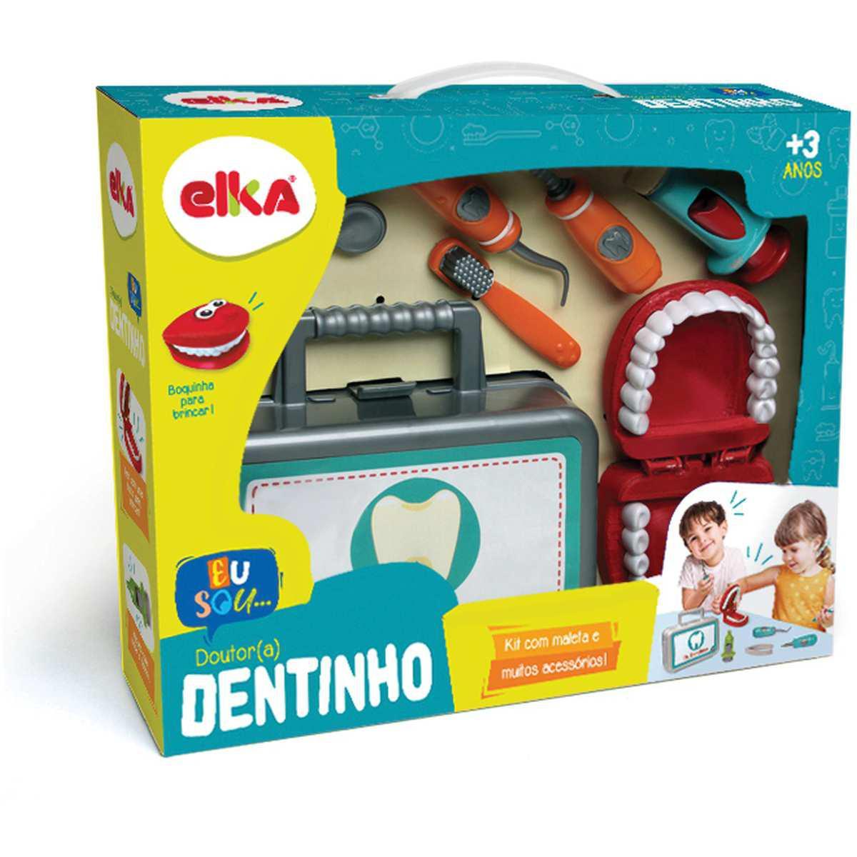 Kit com Maleta e Acessórios Doutor(a) Dentinho Brincando de Dentista Elka