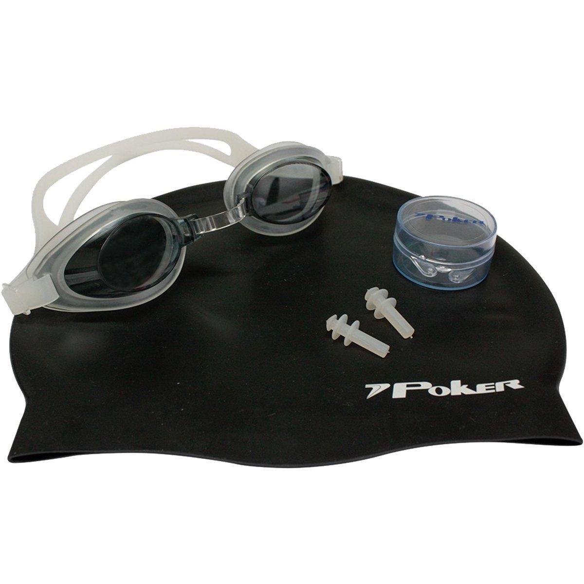 Kit de Natação Óculos Touca  Protetor de Ouvido  Poker Aruba