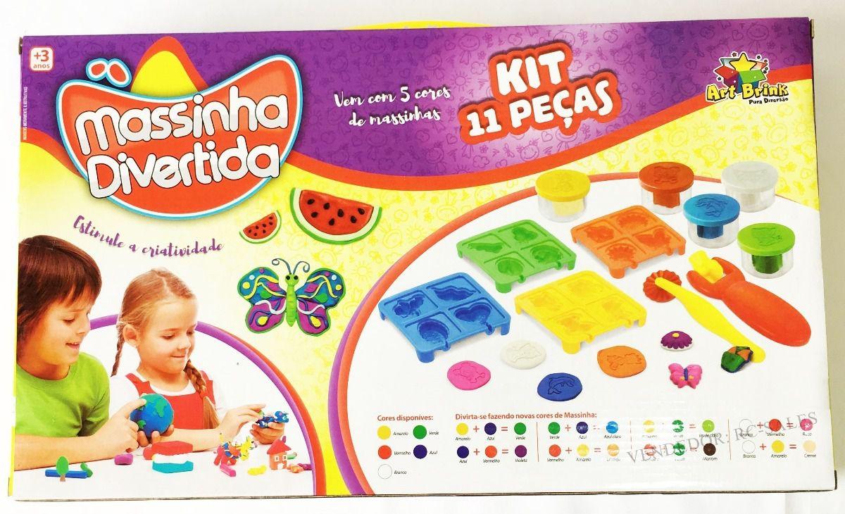 Kit Massinha de Modelar Divertida 11 peças Brinquedo Art Brink