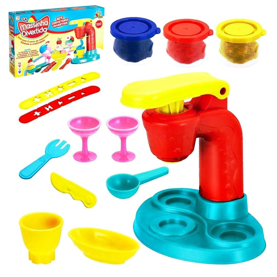 Kit Massinha de Modelar Sorveteria Divertida Brinquedo Art Brink