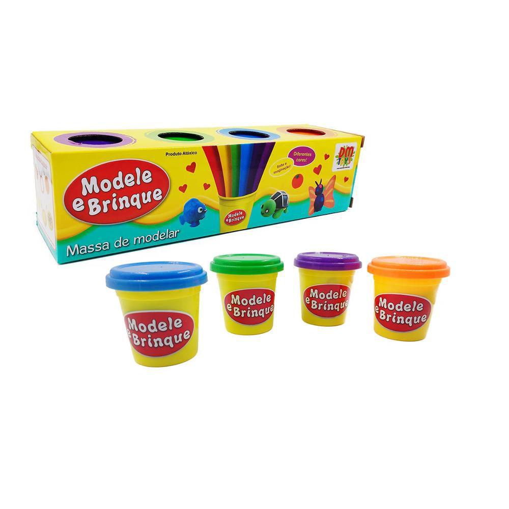 Kit Massinhas De Modelar Modele E Brinque com 4 Potes DM Toys