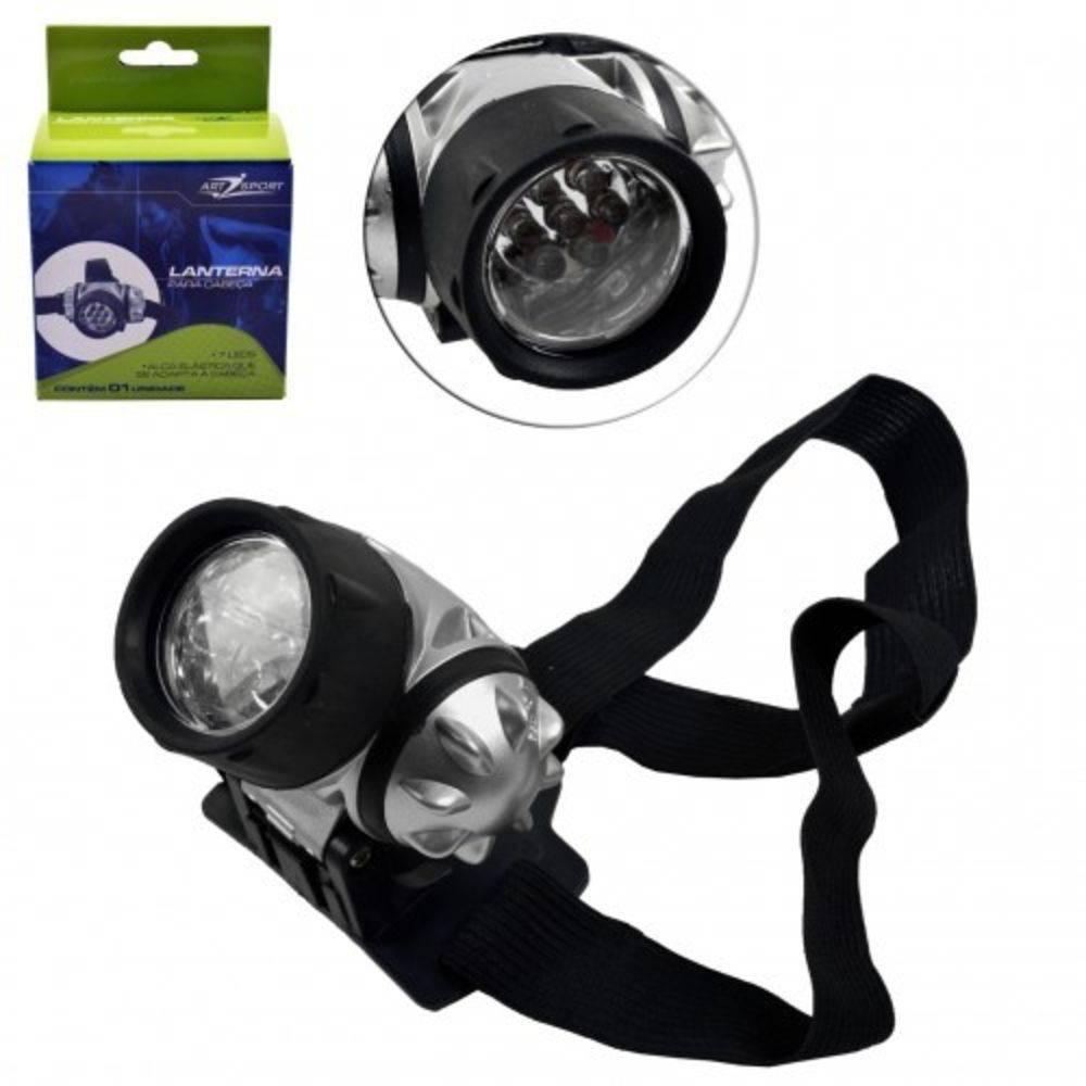 Lanterna Cabeça 7 Leds Alças Elasticas Esporte Art Sport