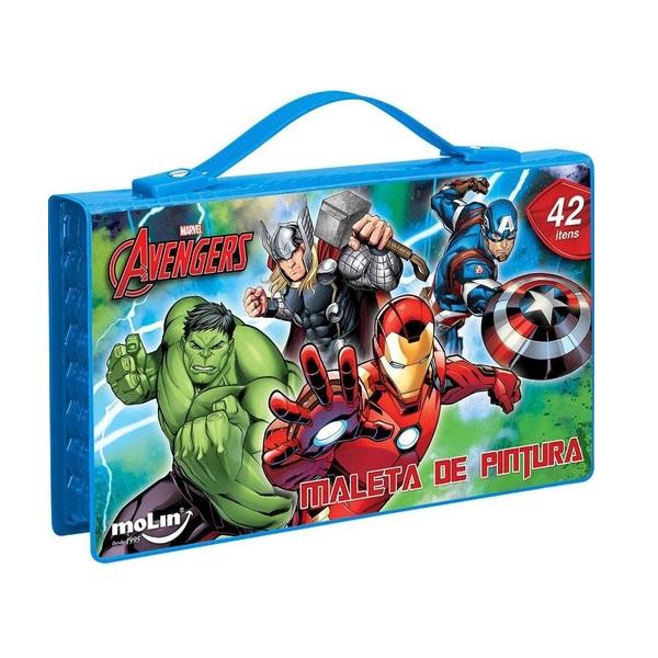 Maleta de Pintura Azul para Colorir Avengers Vingadores Marvel 42 Itens Molin