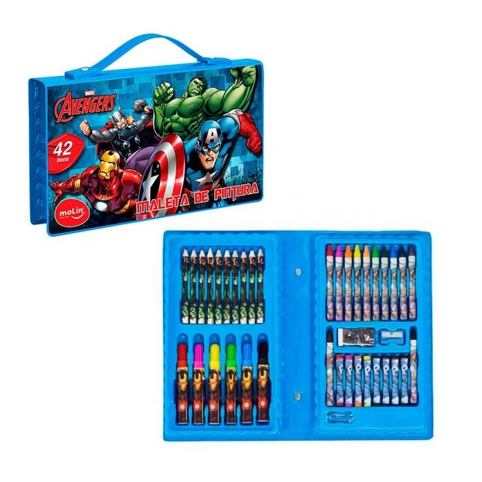 Maleta de Pintura Escolar para Colorir Avengers Marvel 42 Itens Molin