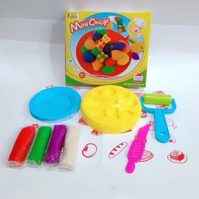Massa de Modelar Doces divertidos Mini Candy Brinquedo 9 peças