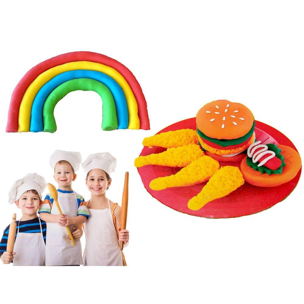 Massa de modelar Magic Dough 10 pçs Brinquedo Kit Cheff Massinha