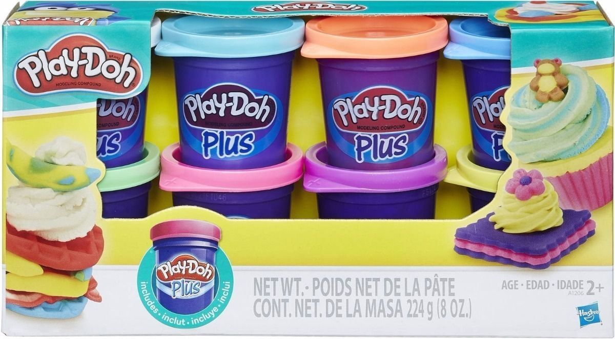 Massa de Modelar Plus Kit 8 Potes Color Play Doh