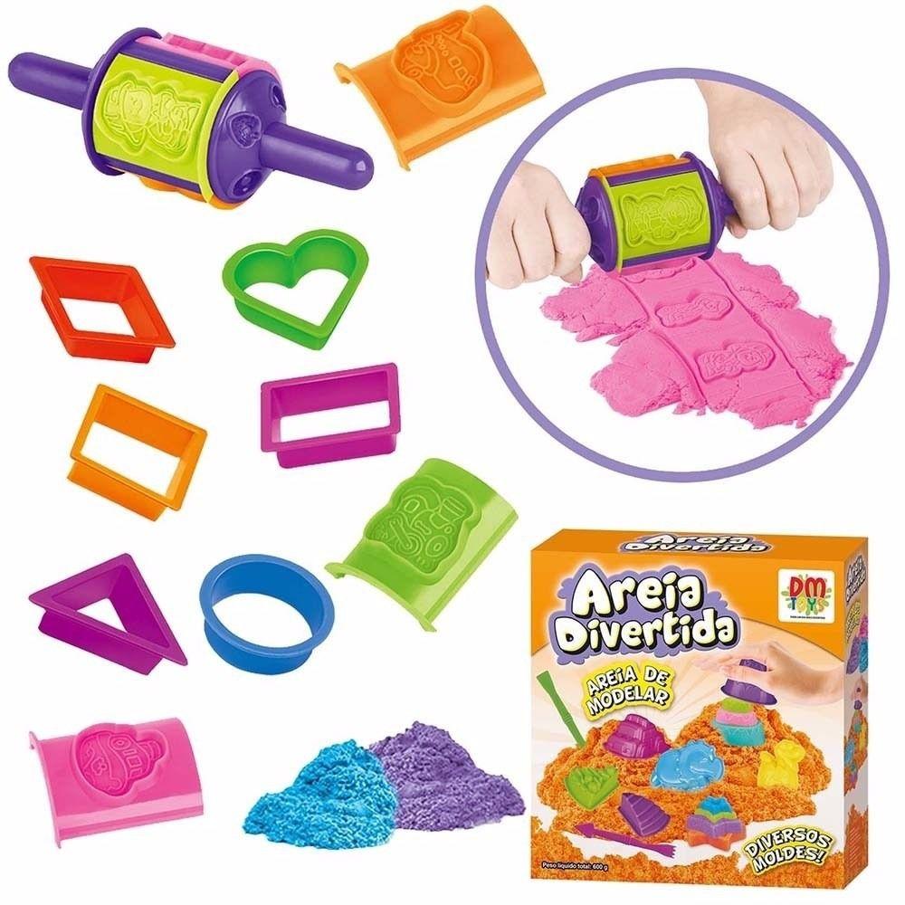 Massinha de Modelar Areia Divertida com 12 moldes Formas DM Toys