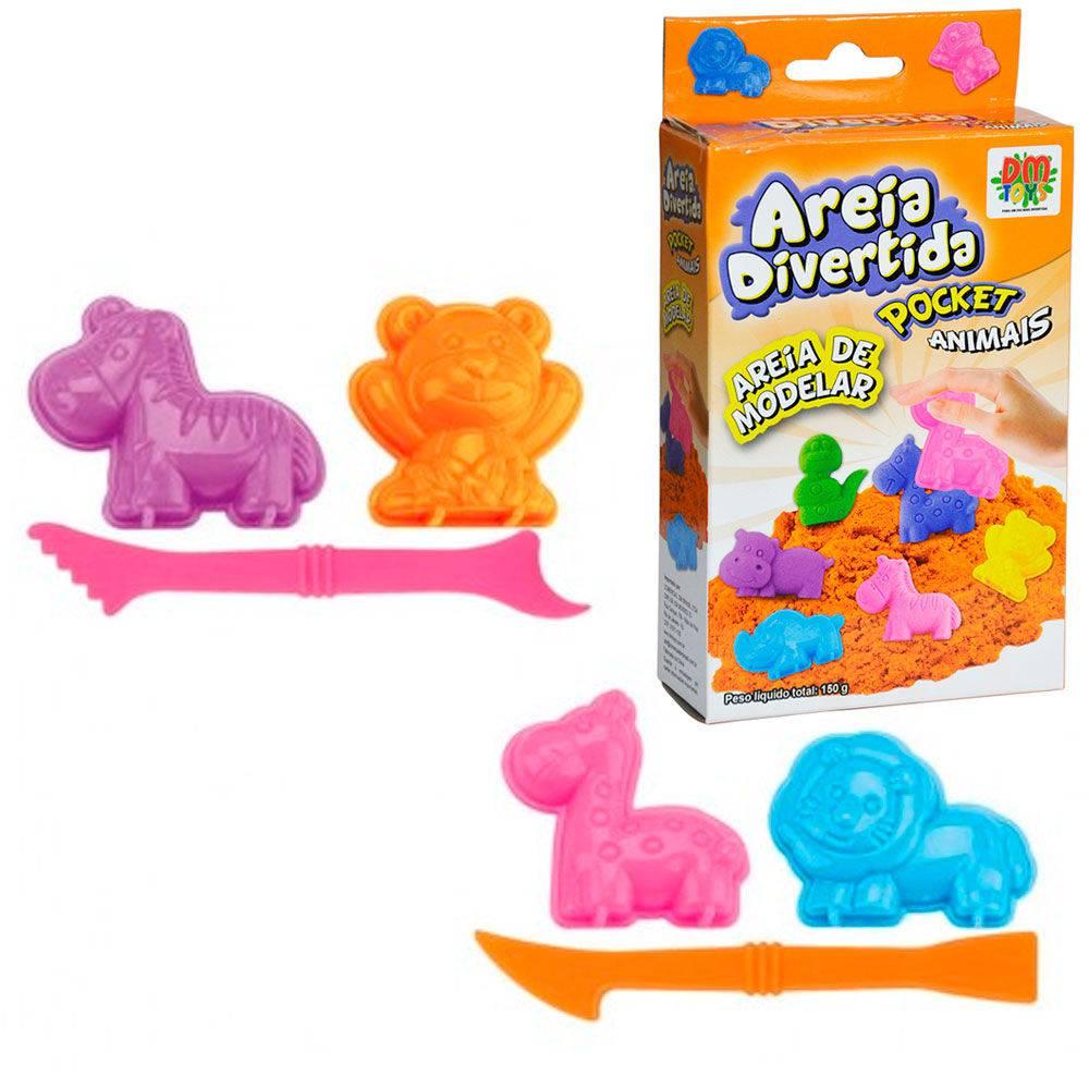 Massinha de Modelar Areia Divertida com Moldes Pocket Animais DM Toys