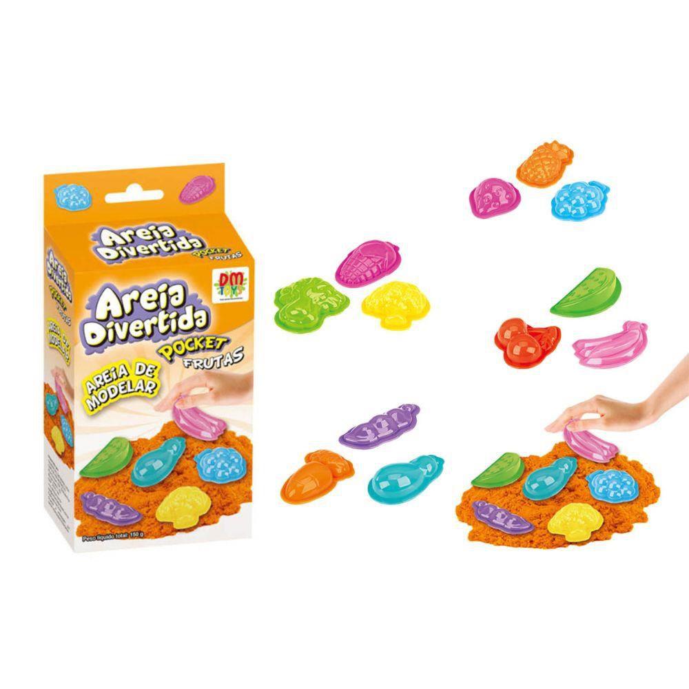 Massinha de Modelar Areia Divertida com Moldes Pocket Frutas DM Toys