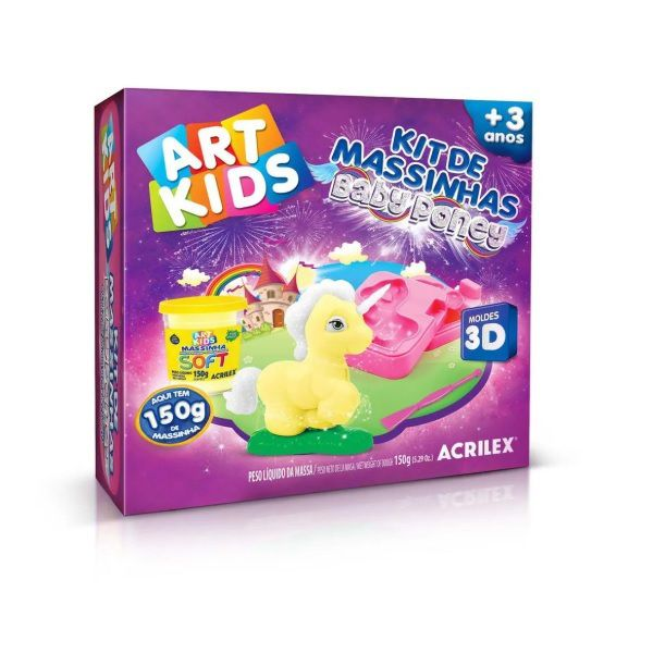 Massinha de Modelar Criativa Art Kids Baby Poney Molde 3D ref 40045 Acrilex