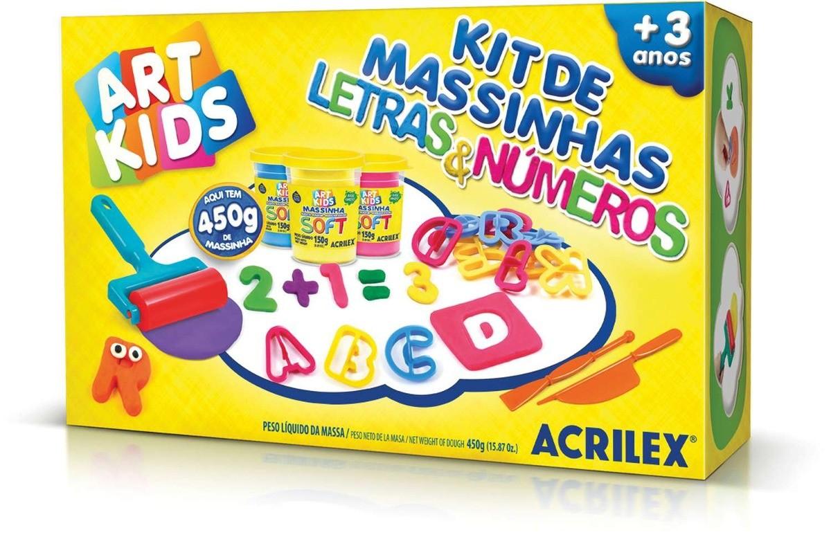 Massinha de Modelar Criativa Art Kids Letras e Números Acrilex