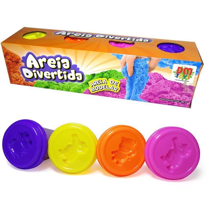 Massinha de Modelar de Areia Cinética Divertida com 4 Potes de 70g cada DM Toys