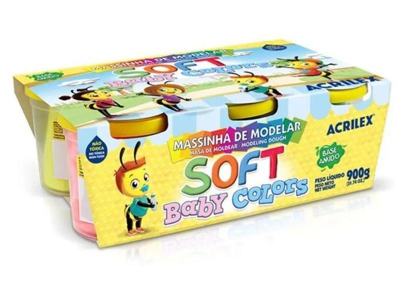 Massinha de Modelar Soft Baby Colors 6 Potinhos de 150g Cada Acrilex