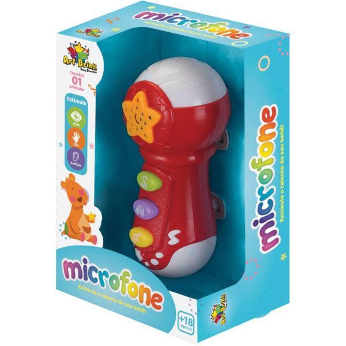 Microfone Infantil com  Efeitos de Luz e Som e Projeção de Céu  Art Brink