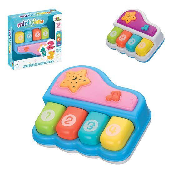 Mini Piano Musical Infantil Brinquedo com Efeitos de Luz e Som Art Brink