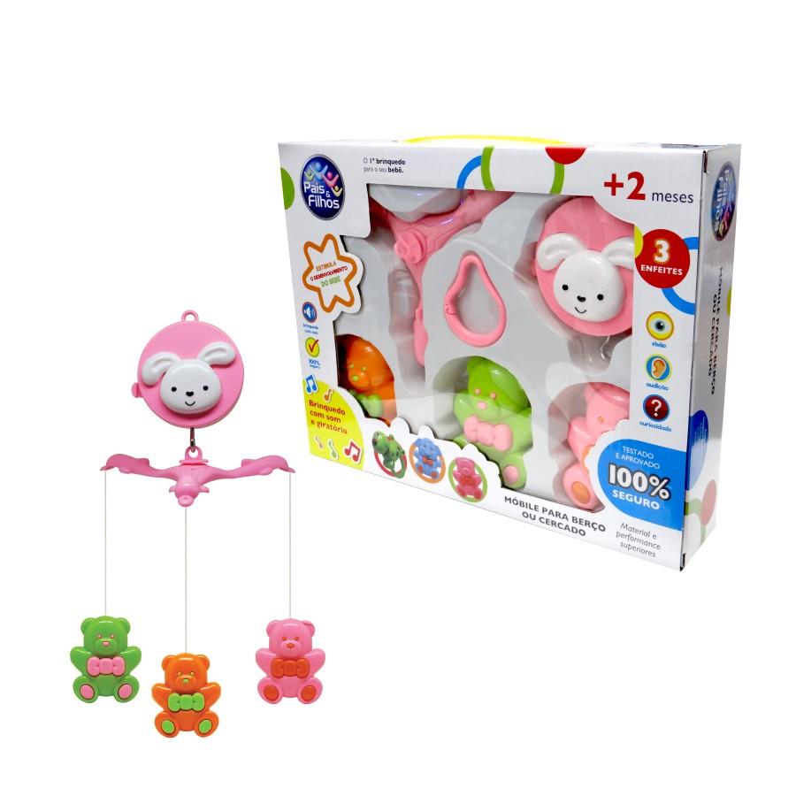 Mobile para Berço Musical e Giratorio Urso Brinquedo para Bebe Pais e Filhos