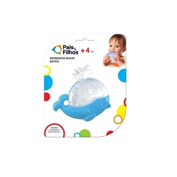Mordedor Infantil Macio Baleia Azul Pais e Filhos
