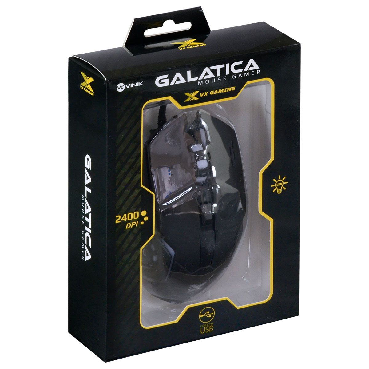 Mouse Gamer VX Gaming Galatica 2400 DPI Led Vermelho Usb Vinik
