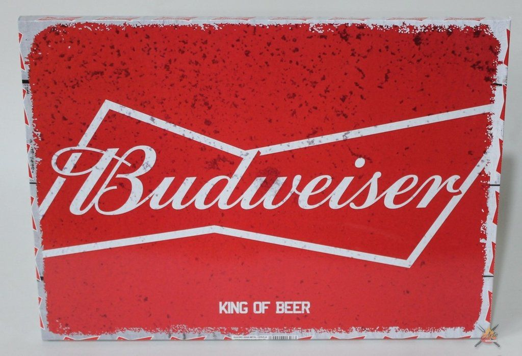 Placa Decorativa Metal Cerveja Budweiser 30x40cm