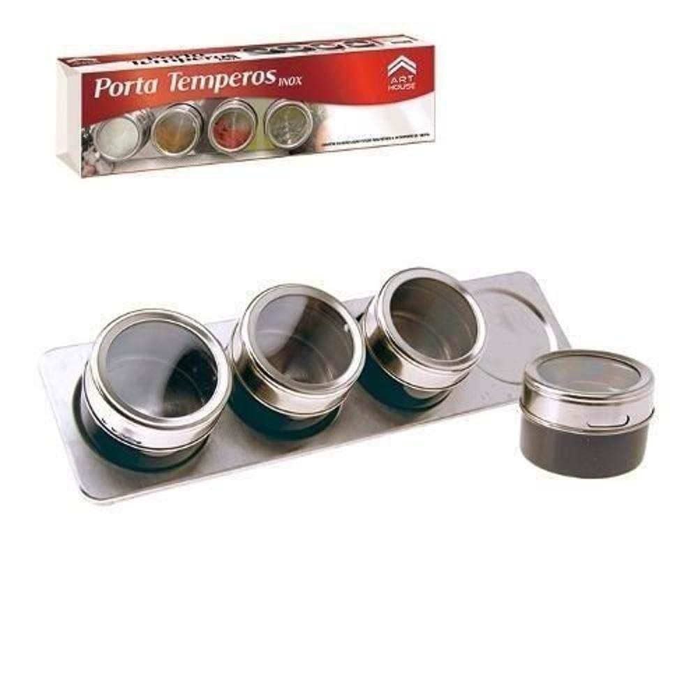 Porta Temperos Magnetico Inox 4 Potes Tempero Com Suporte Art House