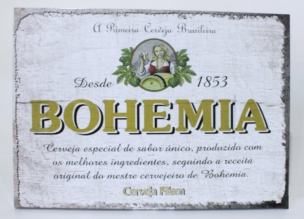 Quadro Placa Decorativa Metal Cerveja Bohemia 30x40cm