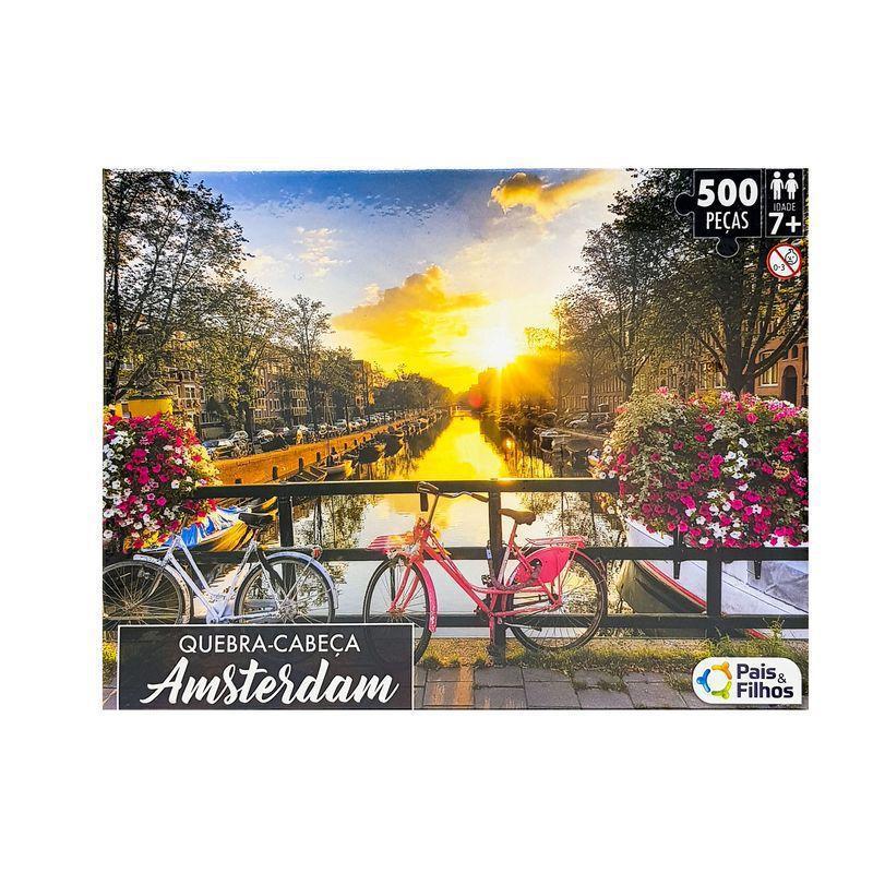 Quebra-cabeça Cartonado Amsterdam Premium 500 peças Pais e Filhos