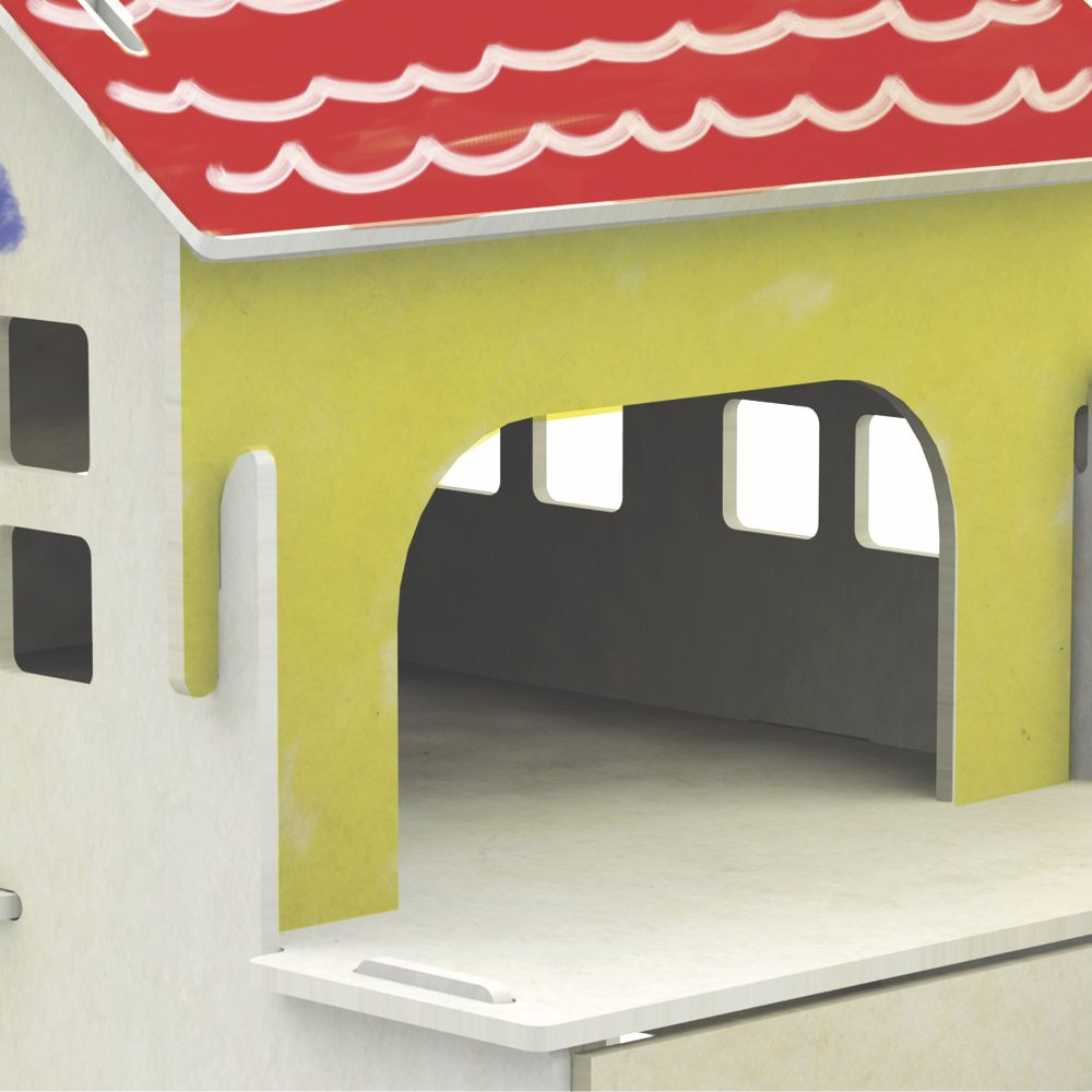 Quebra Cabeça Casinha Para Pintura 3D Xalingo