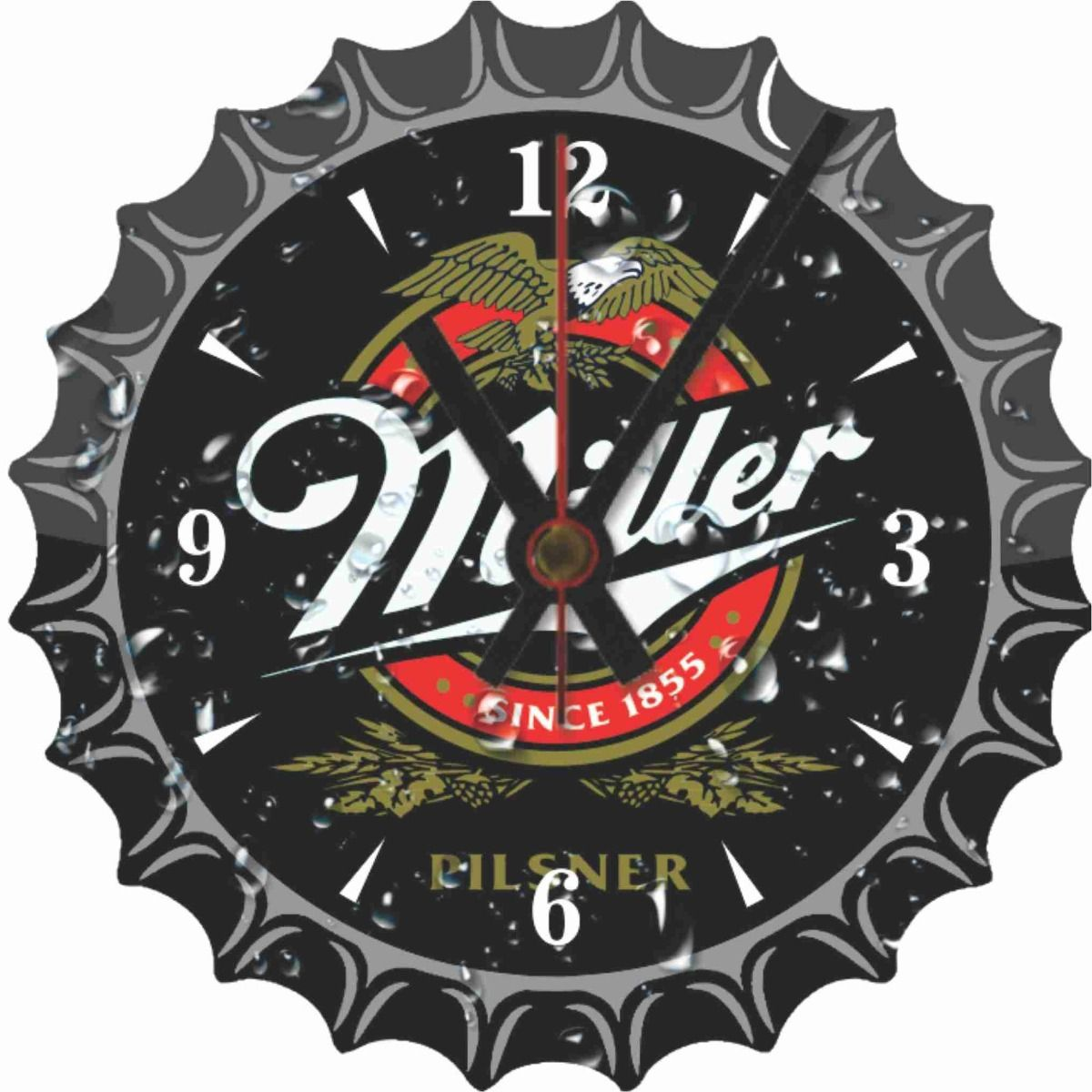 Relógio de Parede Analógico em Madeira MDF Cerveja Miller