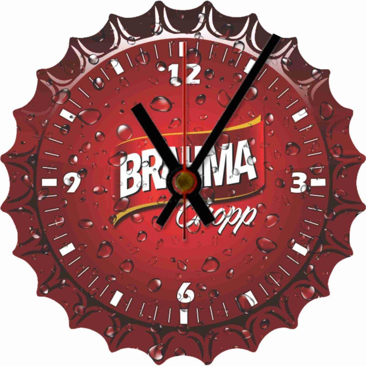 Relógio de Parede Tampinha Brahma Chopp Analógico em Madeira MDF
